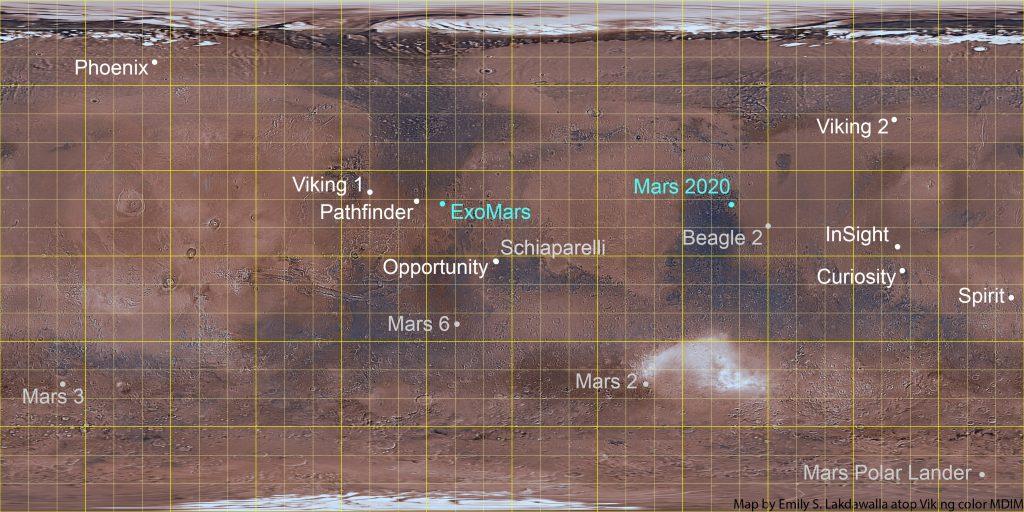 Mars lander map